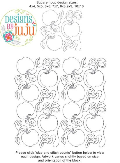 Apples End-to-End Quilting Machine Embroidery Designs by JuJu E2E Edge to Edge