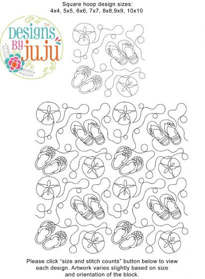 Beach Summer 1 End-to-End E2E Allover Edge to Edge Quilting Machine Embroidery Designs by JuJu