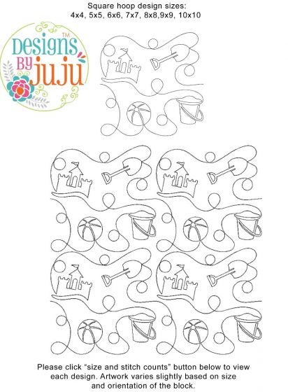 Beach Summer 2 End-to-End E2E Allover Edge to Edge Quilting Machine Embroidery Designs by JuJu