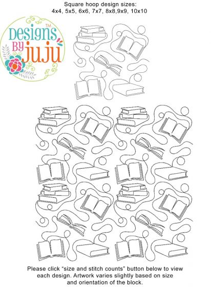 Books End-to-End E2E Allover Edge to Edge Quilting Machine Embroidery Designs by JuJu