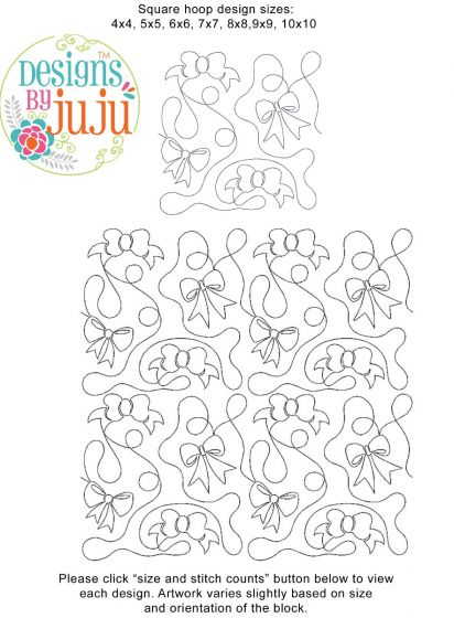 Bows End-to-End Quilting Embroidery Design