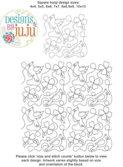 Cardinal And Dogwood End-to-End E2E Allover Edge to Edge Quilting Machine Embroidery Designs by JuJu