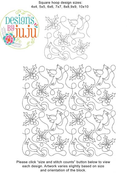 Cardinals And Berries End-to-End E2E Allover Edge to Edge Quilting Machine Embroidery Designs by JuJu