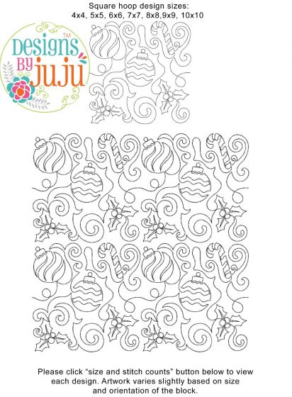 Christmas Decorations End-to-End Quilting Embroidery Design