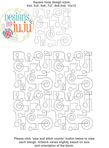 Circuit End-to-End Quilting Embroidery Design