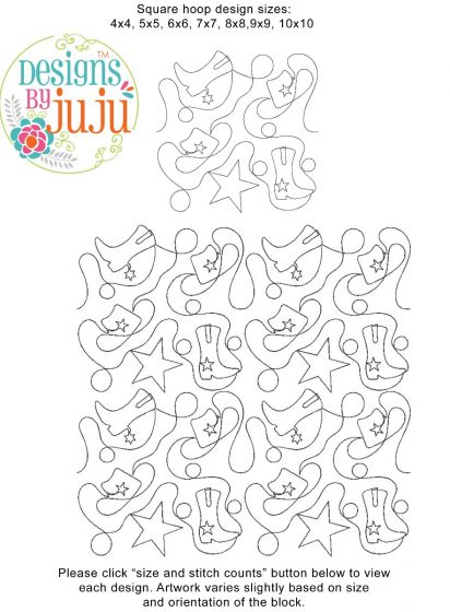 Cowboy Western End-to-End E2E Allover Edge to Edge Quilting Machine Embroidery Designs by JuJu