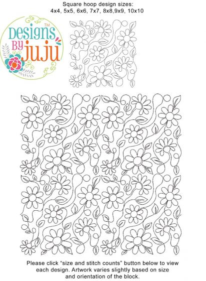 Daisies End-to-End Quilting Machine Embroidery Designs by JuJu E2E Edge to Edge