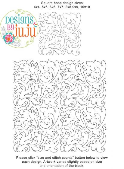 Baroque End to End Quilting Embroidery Design