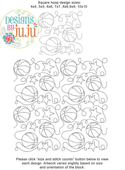Basketball End-to-End Quilting Embroidery Design