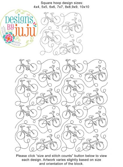 Bicycle End to End Quilting Design Exclusive Machine Embroidery Designs by JuJu
