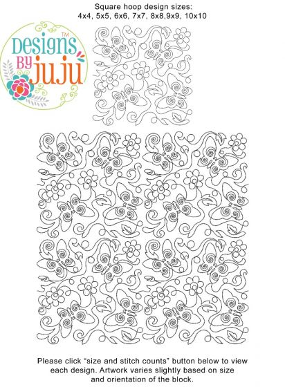 Butterflies and Flowers End to End Quilting Digital Machine Embroidery Designs by JuJu