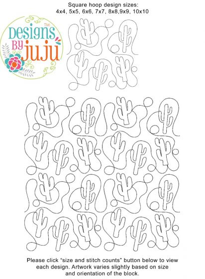 Cactus 2 End to End Quilting Design Exclusive Machine Embroidery Designs by JuJu