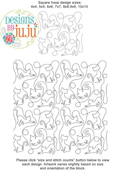 Cats 2 End-to-End Quilting Embroidery Design