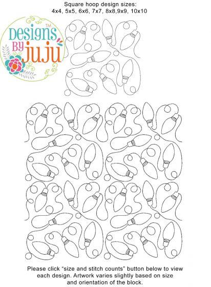 Christmas Lights End-to-End Quilting Embroidery Design