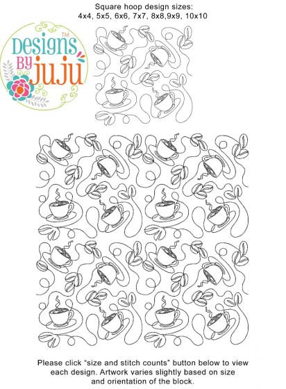 Coffee End-to-End Quilting Embroidery Design