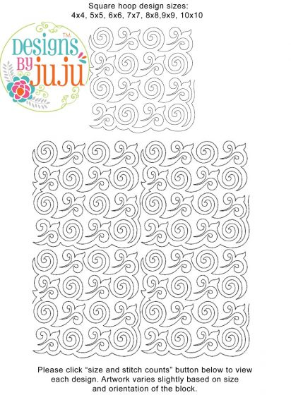 Curly Q End-to-End Quilting Embroidery Design