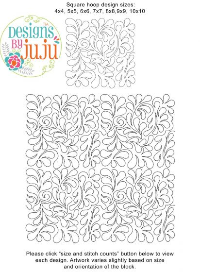 Feathers 2 End-to-End Quilting Embroidery Design