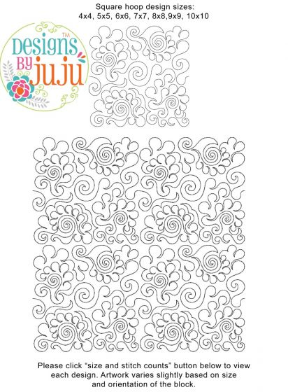 Feathers 3 End-to-End Quilting Embroidery Design