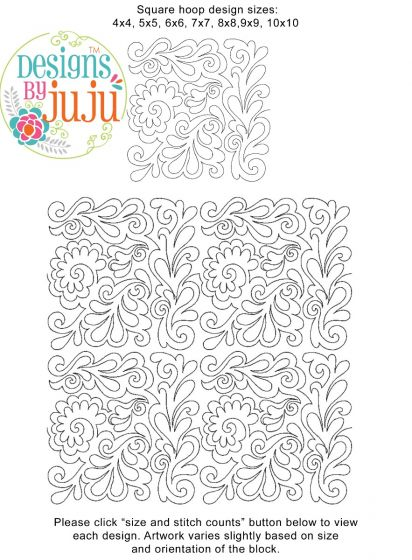 Feathers 4 End-to-End Quilting Embroidery Design