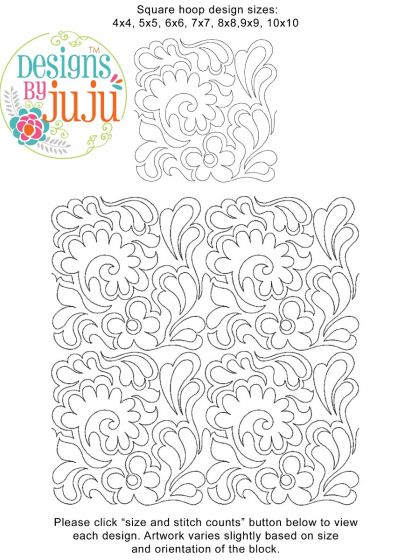 Feathers 7 End to End Quilting Design Exclusive Machine Embroidery Designs by JuJu