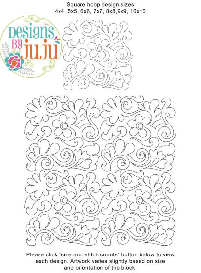 Flowers Feathers Swirls 1 End-to-End Quilting Embroidery Design