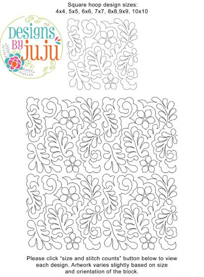 Flowers Feathers Swirls 2 End to End Quilting Design Exclusive Machine Embroidery Designs by JuJu