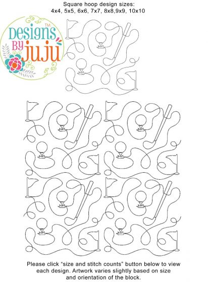 Golf End-to-End Quilting Embroidery Design
