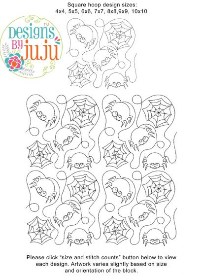 Halloween Spider End to End Quilting Digital Machine Embroidery Designs by JuJu