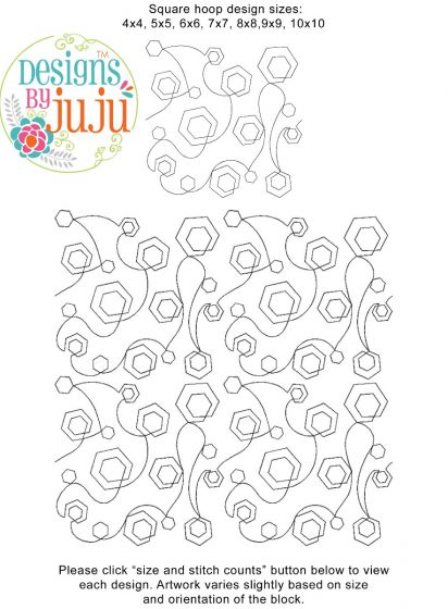 Hexagon Stipple End-to-End Quilting Embroidery Design