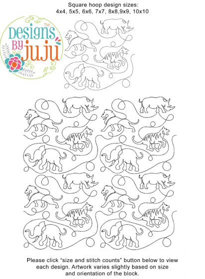Jungle Safari End-to-End Quilting Embroidery Design