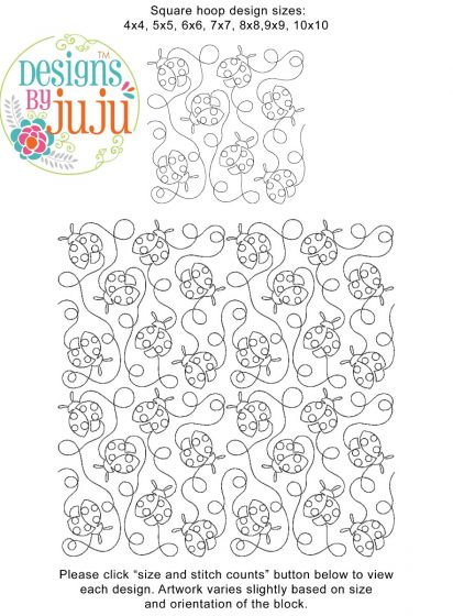 Ladybugs 1 End-to-End Quilting Embroidery Design
