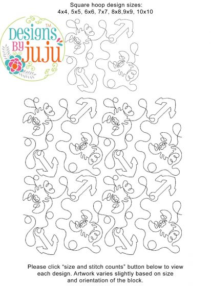 Lobsters End-to-End Quilting Embroidery Design