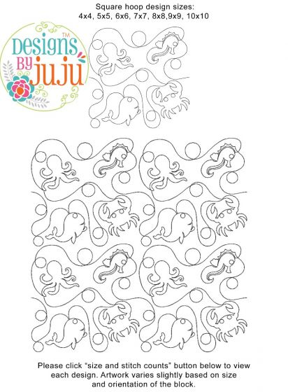 Ocean Creatures 1 End-to-End Quilting Embroidery Design