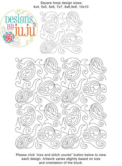Paisley 5 End to End Quilting Digital Machine Embroidery Designs by JuJu