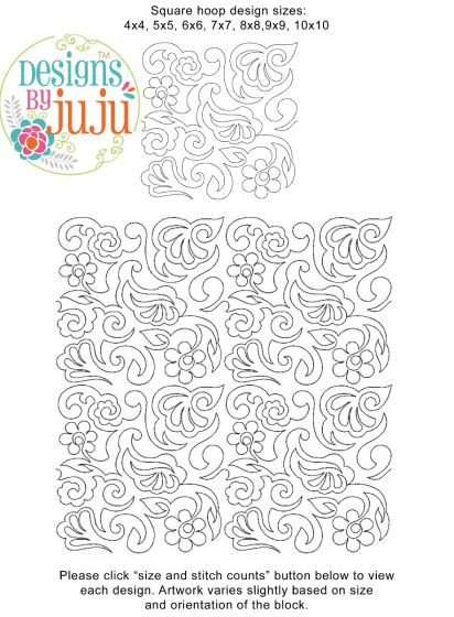 Paisley 4 End-to-End Quilting Embroidery Design