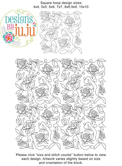 Peonies End to End Quilting Design Exclusive Machine Embroidery Designs by JuJu