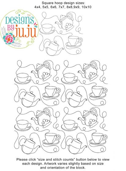 Teatime e2e Edge-To-Edge Quilt Block Embroidery Design by JuJu End-to-End Quilting