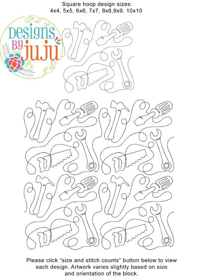 Tool Time End-to-End Quilting Embroidery Design