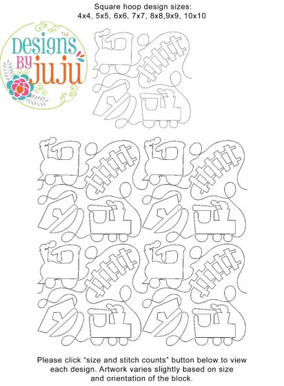 Trains End-to-End Quilting Embroidery Design