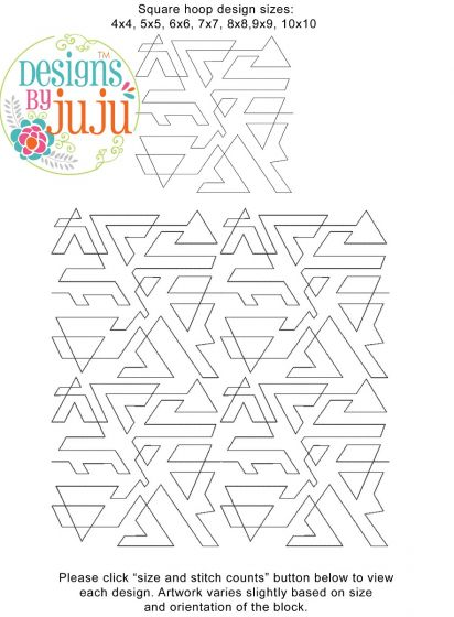 Triangles Geo End-to-End Quilting Embroidery Design
