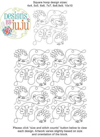 Turkey Day End-to-End Quilting Embroidery Design