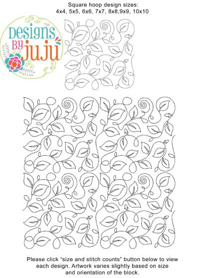 Vine 3 End-to-End Quilting Embroidery Design
