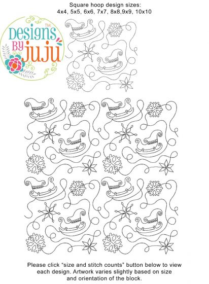 Winter Sleigh End-to-End Quilting Embroidery Design