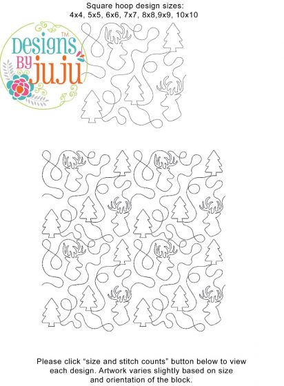 Deer and Trees End-to-End Quilting Machine Embroidery Pattern Designs by JuJu for Edge to Edge Continuous Line Allover E2E Quilting With Your Embroidery Machine