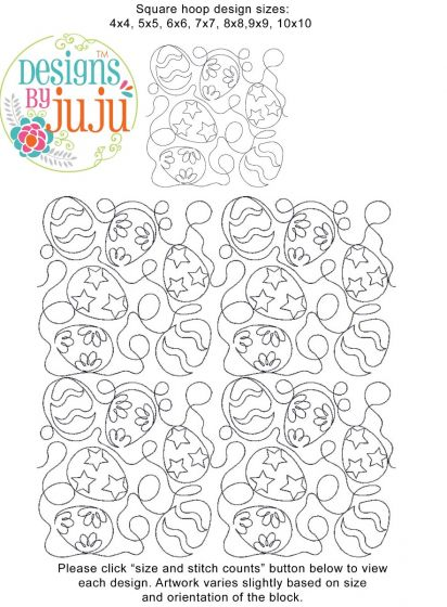 Easter Eggs End-to-End Quilting Machine Embroidery Designs by JuJu E2E Edge to Edge