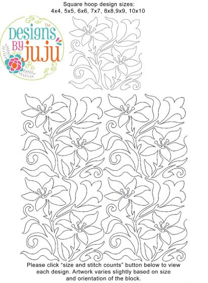 Easter Lilies End-to-End Quilting Machine Embroidery Designs by JuJu E2E Edge to Edge