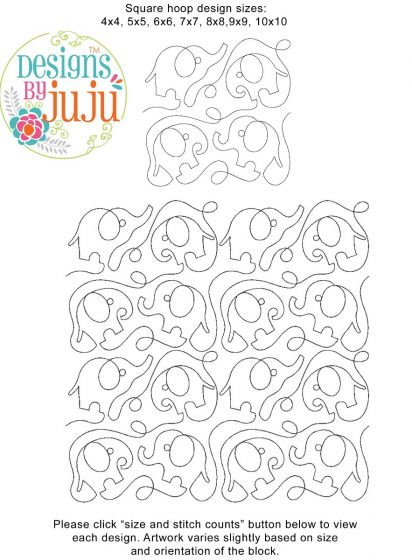 Elephants End-to-End E2E Allover Edge to Edge Quilting Machine Embroidery Designs by JuJu