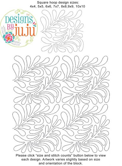Feathers 1 End-to-End Quilting Machine Embroidery Designs by JuJu Edge to Edge E2E