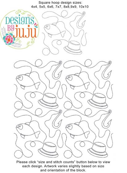 Fishing End-to-End Quilting Machine Embroidery Designs by JuJu Edge to Edge E2E