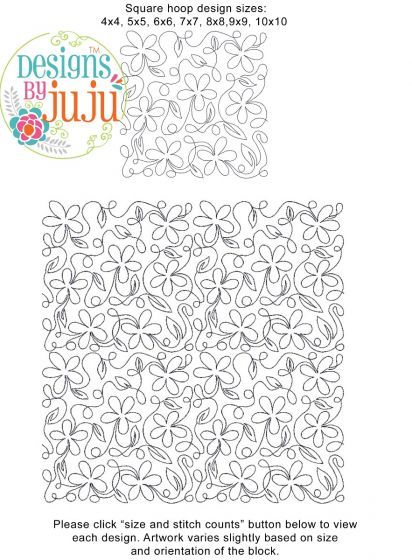 Flowers Loops End-to-End Quilting Machine Embroidery Pattern Designs by JuJu for Edge to Edge Continuous Line Quilting With Your Embroidery Machine